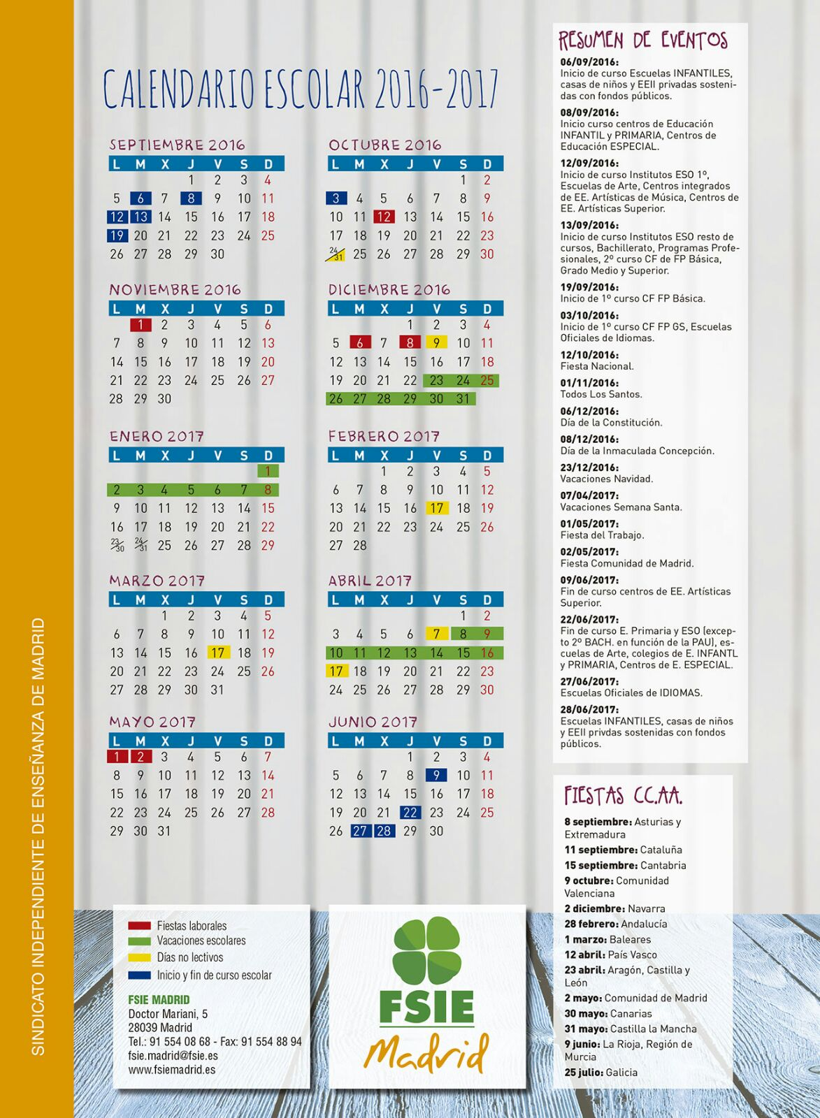 Calendario Escolar Madrid.Calendario Escolar Para El Curso 2016 2017 Fsie Madrid