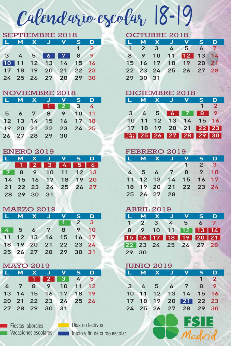 Calendario Academico Madrid.Calendario Escolar Curso 2018 19 En La Comunidad De Madrid Fsie Madrid