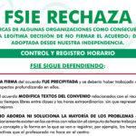 FSIE RECHAZA LAS CRÍTICAS A SU LEGÍTIMA DECISIÓN DE NO FIRMAR EL ACUERDO DE CONTROL HORARIO