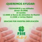 FSIEMADRID DESTINA 25.000 € EN AYUDAS A CÁRITAS Y AL BANCO DE ALIMENTOS DE MADRID