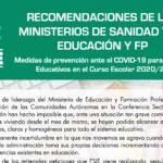 SANIDAD Y EDUCACIÓN ELABORAN UN DOCUMENTO DEFINITIVO CON RECOMENDACIONES PARA LOS CENTROS EDUCATIVOS EN EL CURSO 2020/21