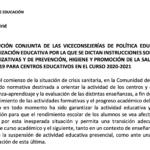 INSTRUCCIONES SOBRE MEDIDAS ORGANIZATIVAS Y DE PREVENCIÓN, HIGIENE Y PROMOCIÓN DE LA SALUD FRENTE A COVID-19 para centros educativos en el curso 2020/2021.