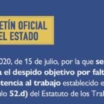 PUBLICADA EN EL BOE LA LEY QUE DEROGA EL DESPIDO OBJETIVO POR FALTAS DE ASISTENCIA AL TRABAJO