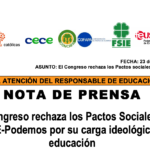 LA PLATAFORMA CONCERTADOS CELEBRA EL RECHAZO DEL CONGRESO A LOS PACTOS SOCIALES