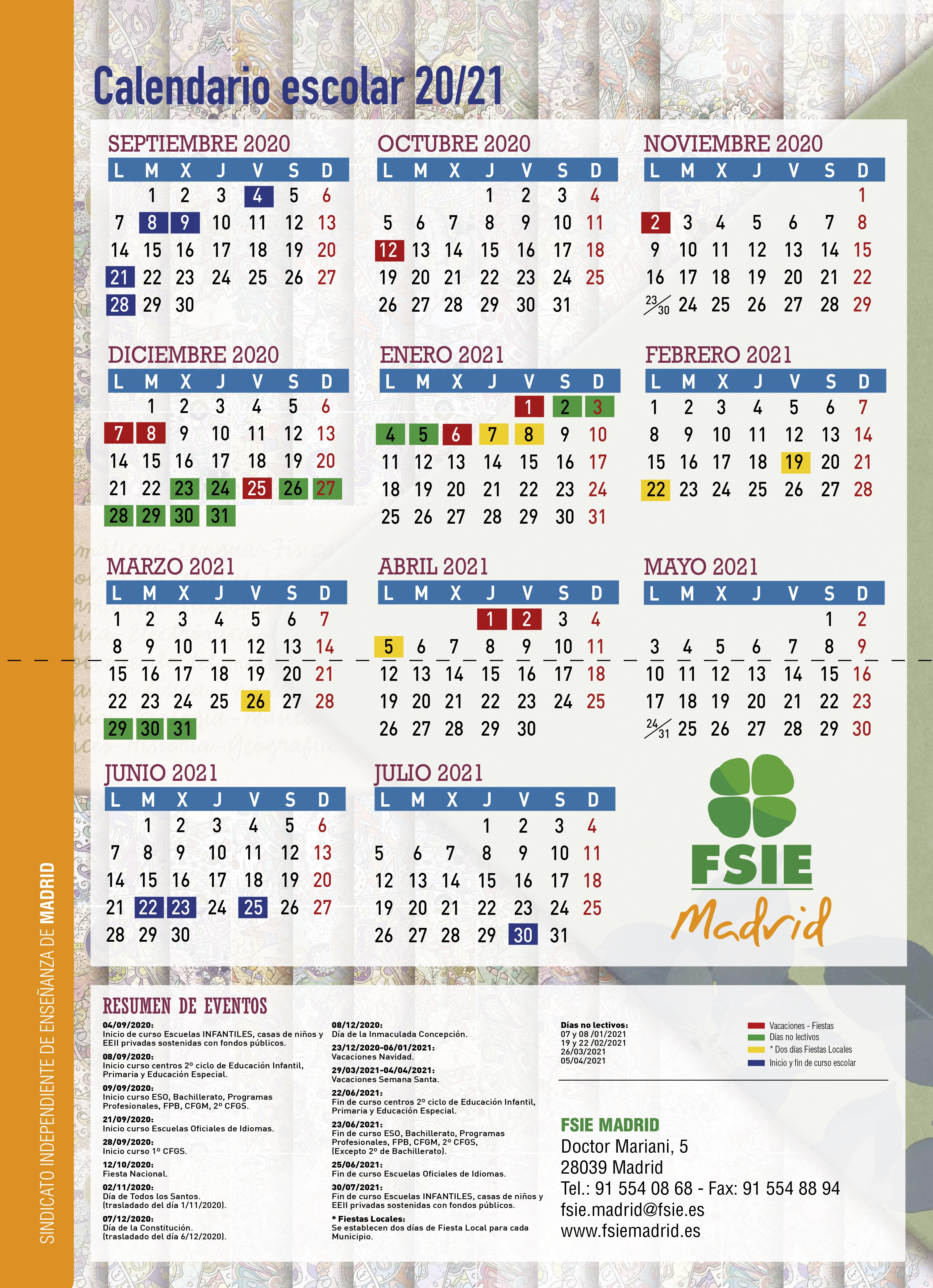 Calendario Escolar 2021 CALENDARIO ESCOLAR CURSO 20/21 (ACTUALIZADO) — FSIE Madrid