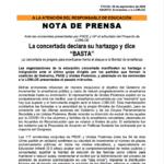 """LA CONCERTADA DECLARA SU HARTAZGO Y DICE """"BASTA"""""""